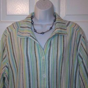 Erika Woman Striped Linen Blend Shirt 1X